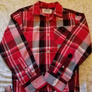 Plaid long sleeve ,boys button dow polo